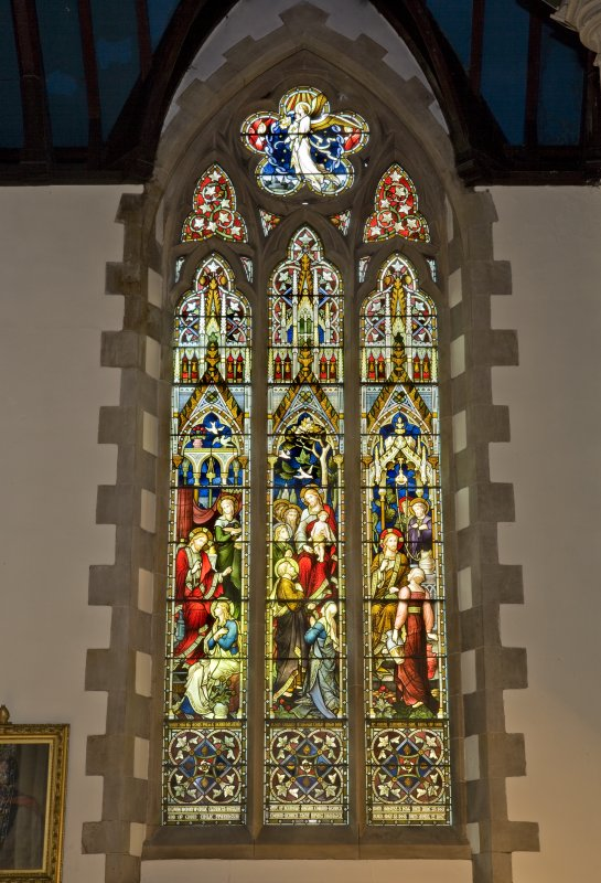 Interior. Nave. Stained glass window. Detail