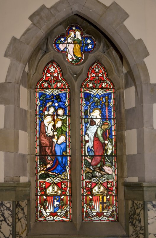 Interior. Lady chapel. Stained glass window. Detail