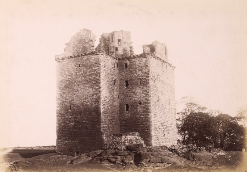 View from NW.  Titled: 'Niddry Castle, Winchburgh.'