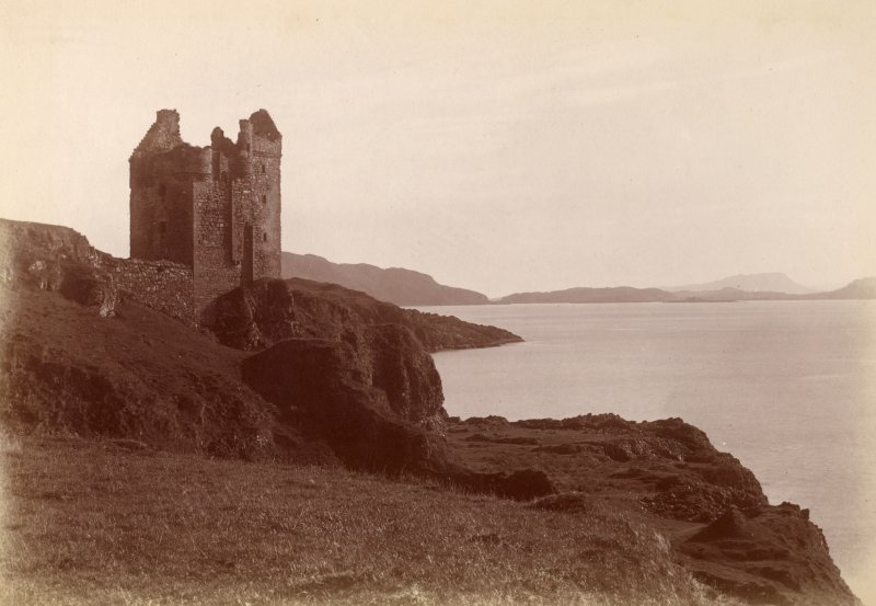 General view of castle on headland. Titled: 'Gylen Castle, Kerrara, Oban 1922.'