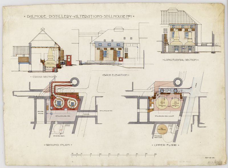 Drawing showing sections, elevation and plans. Titled: 'Dalmore Distillery. Alterations Stillhouse No 1. Cross Section; Back Elevation; Longitudinal Section; Ground Plan; Upper Floor'. Dated: '20/5/21 ...