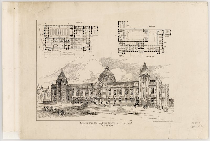 Perspective design and floor plans of Hamilton Town Hall and Public Library.