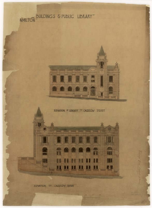 Elevations of Hamilton Municipal Buildings and Public Library.