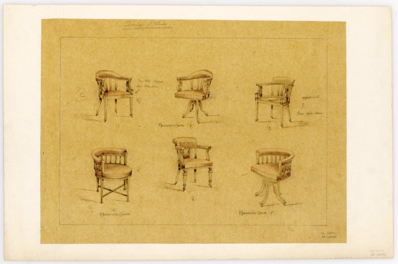 Drawings of 6 chair designs for Hamilton Municipal Buildings.