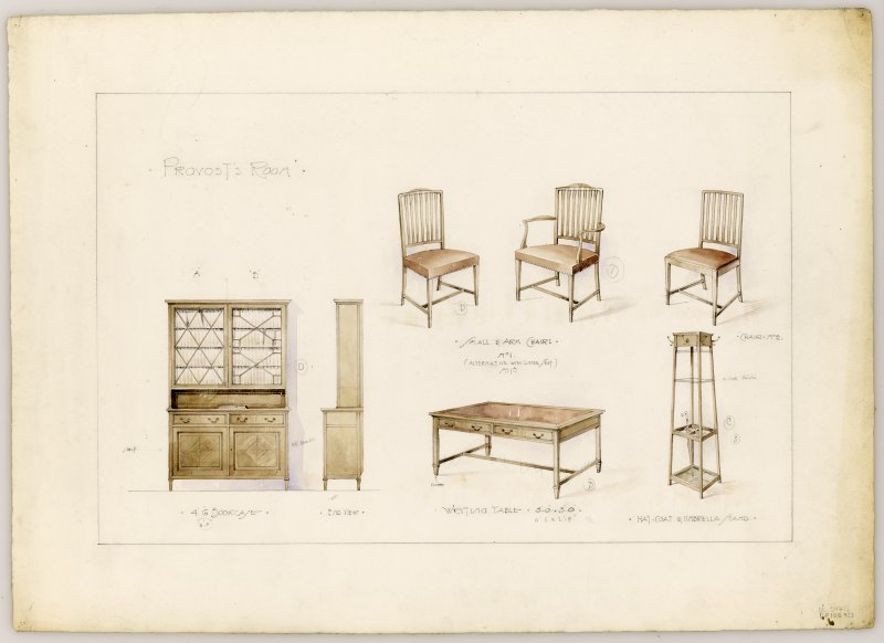 Drawings of furniture for Provost's Room in Hamilton Municipal Buildings.