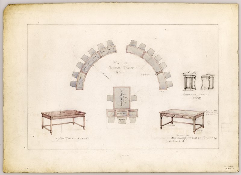 Drawings and plan of Councillors' Table in the Council Chamber of Hamilton Municipal Buildings.