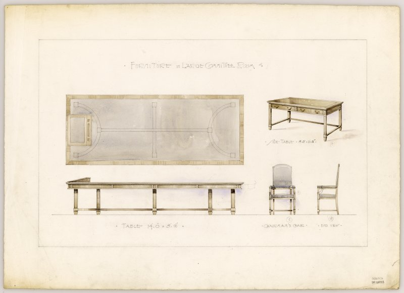 Drawings of furniture for Large Committee Room in Hamilton Municipal Buildings.