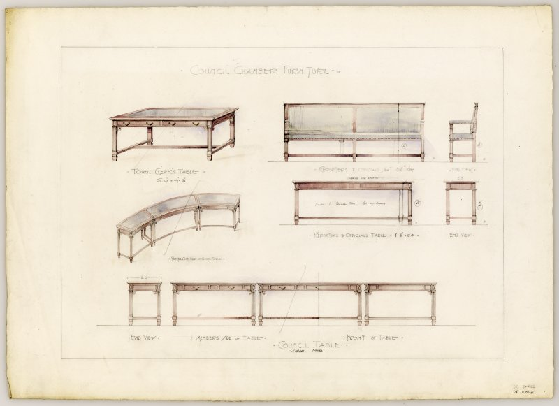 Drawings of furniture for Council Chamber in Hamilton Municipal Buildings.