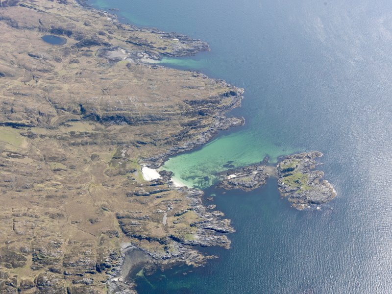 Oblique aerial view of the Sound of Arisaig centred on the remains of the fort, taken from the W.