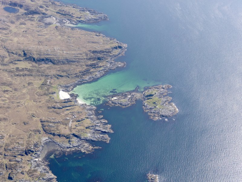 Oblique aerial view of the Sound of Arisaig, centred on Eilean a' Ghaill, taken from the WSW.