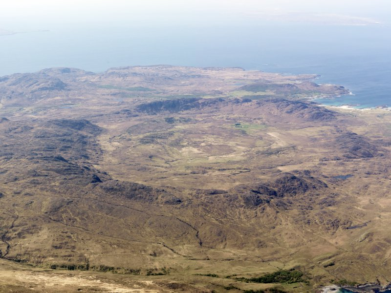 General oblique aerial view of the Ardnamurchan Peninsula, centred on the Caldera, taken from the NNE.