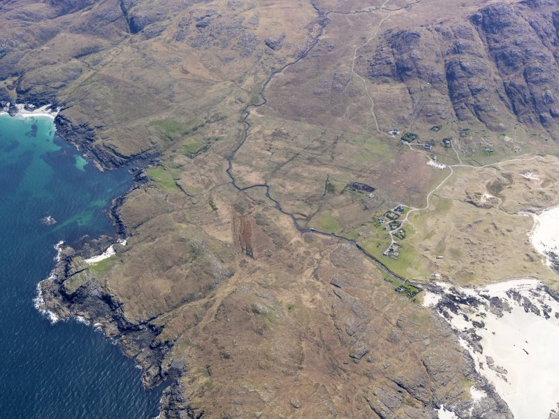 General oblique aerial view of Plocaig and Sanna, taken from the NNW.