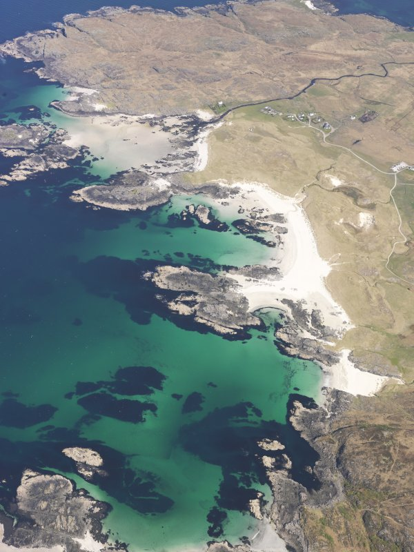 General oblique aerial view of Sanna Bay, centred on Sanna, taken from the SSW.