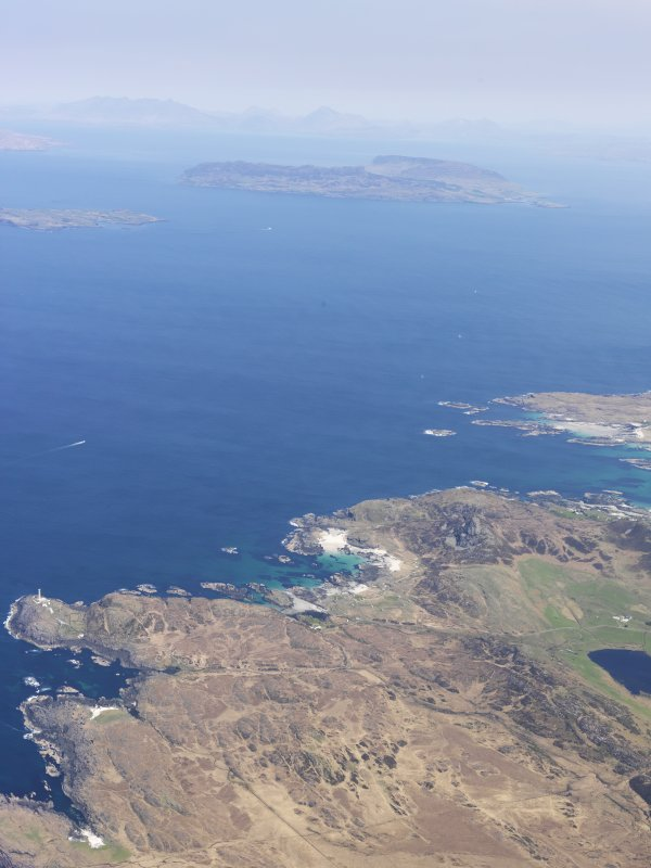 General oblique aerial view of the Point of Ardnamurchan looking out towards the Islands of Rum, Eigg, Muck and Skye, taken from the S.