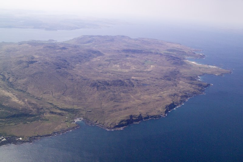 General oblique aerial view of the Ardnamurchan Peninsula centred on the caldera, taken from the NNE.