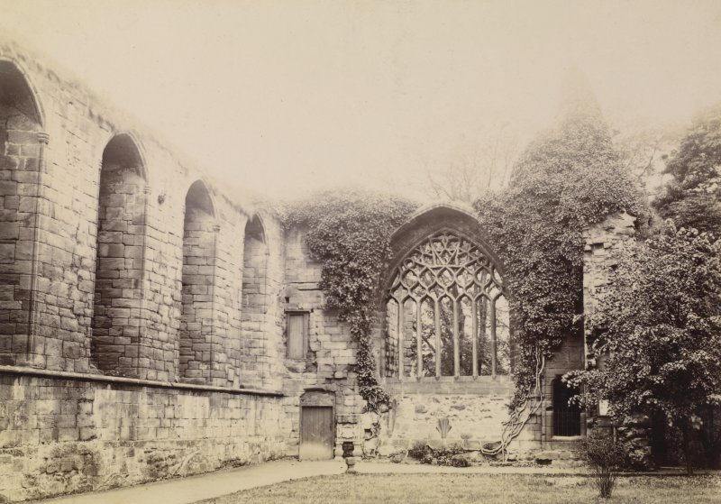 View of monastery ruins, Dunfermline. Titled 'FRATER HALL OF MONASTERY. DUNFERMLINE' PHOTOGRAPH ALBUM NO 11: KIRSTY'S BANFF ALBUM
