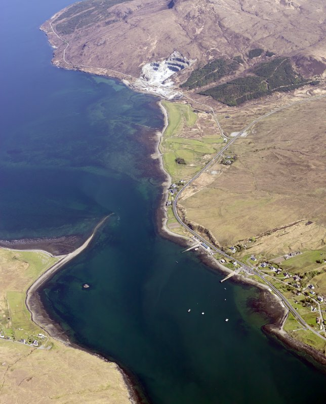 General oblique aerial view of the remains of fish traps near the Sconser golf course and quarry, Skye, taken from the WNW.