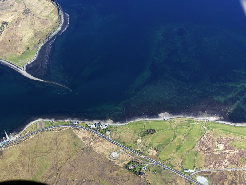 Oblique aerial view of the remains of fish traps near the Sconser golf course and quarry, Skye, taken from the SE.