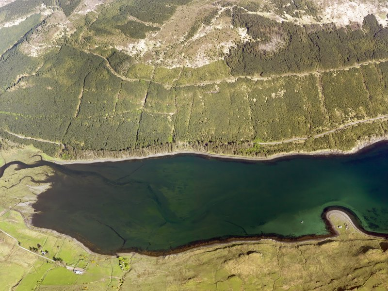 Oblique aerial view of the remains of the fish traps at the head of Loch Eynort, Isle of Skye, taken from the W.