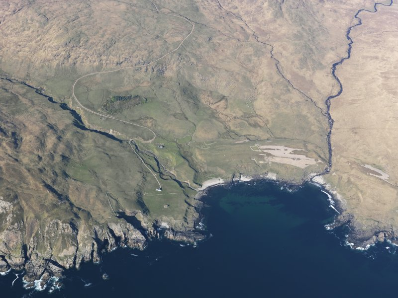 Oblique aerial view of Harris, Rum, taken from the WSW.