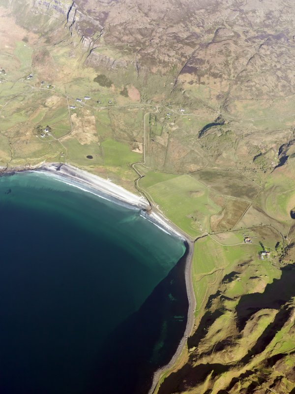 General oblique aerial view of the Bay of Laig, Eigg, taken from the W.