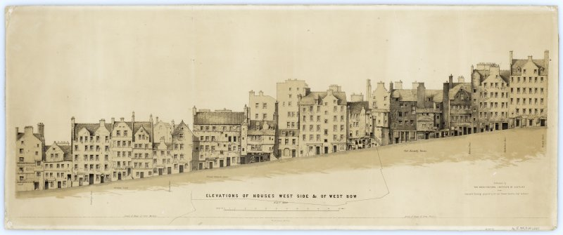 West and Upper Bow 'Elevation of Houses West Side &c. of West Bow'. Lithograph. Framed and glazed.