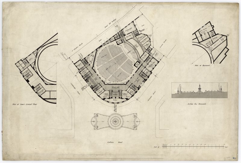 Proposed floor plans and section through forecourts of Usher Hall, Edinburgh.