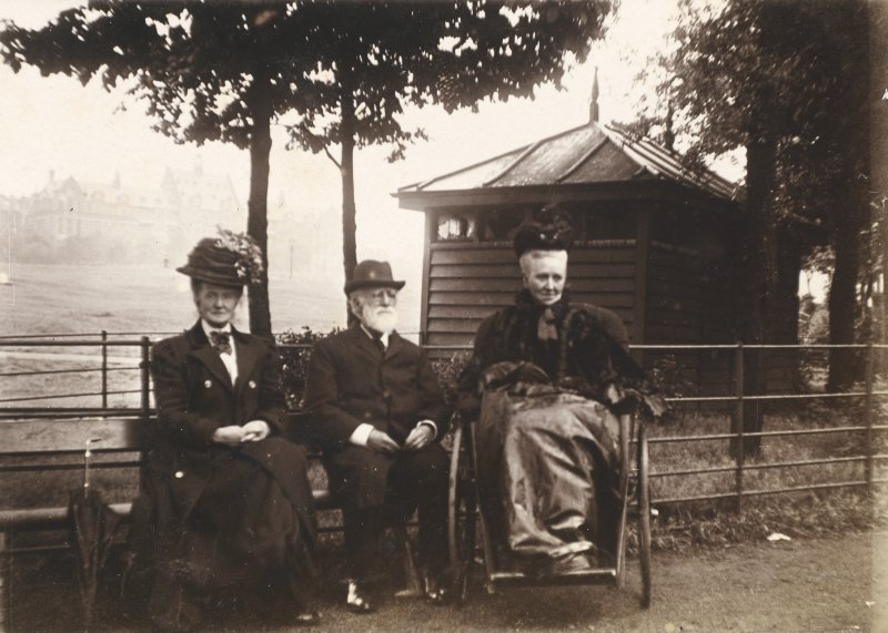 Group of eldery people seated on a bench. PHOTOGRAPH ALBUM NO 34: 16 LEAMINGTON TERRACE, MATHER FAMILY ALBUM