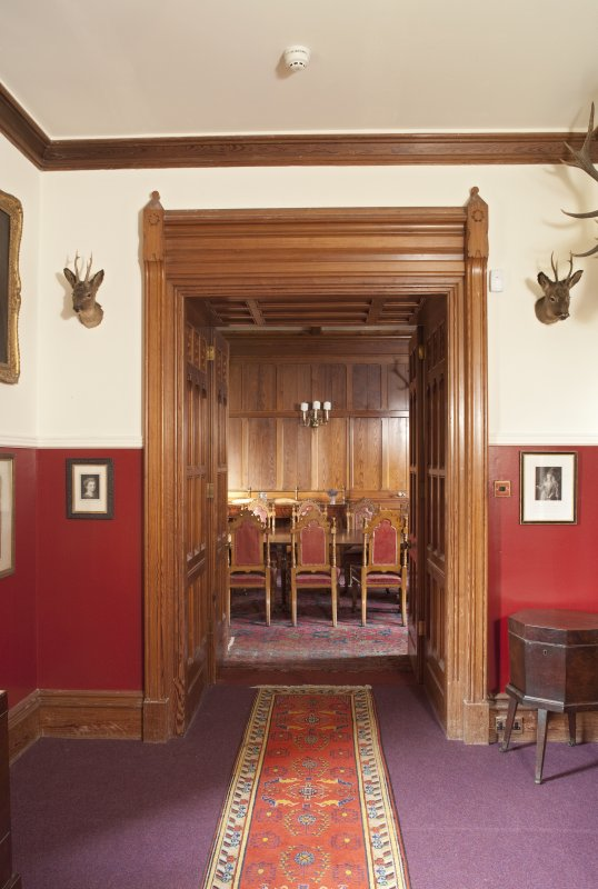 Interior. Ground floor, dining room, view through doorway of dining room passage to south
