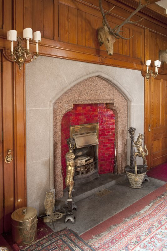 Interior. Ground floor, dining room, view of fireplace at West  end