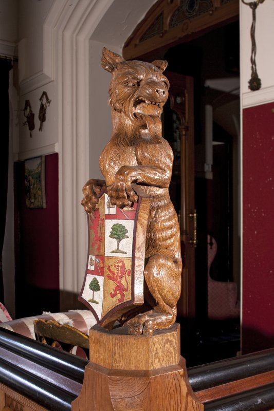 Interior. First floor, staircase, detail of carved heraldic lion newel