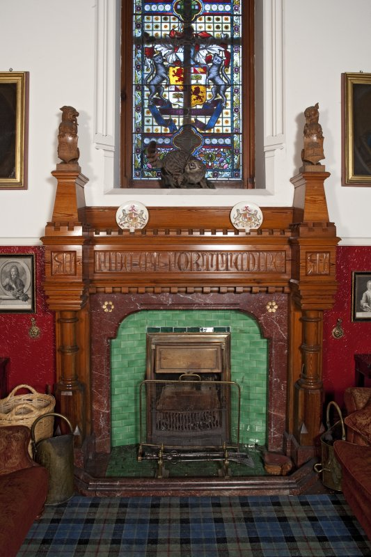 Invercauld House. First floor, upper hall, view of fireplace
