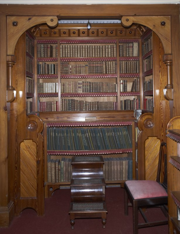 Interior. Ground floor, library, detail of bookcase