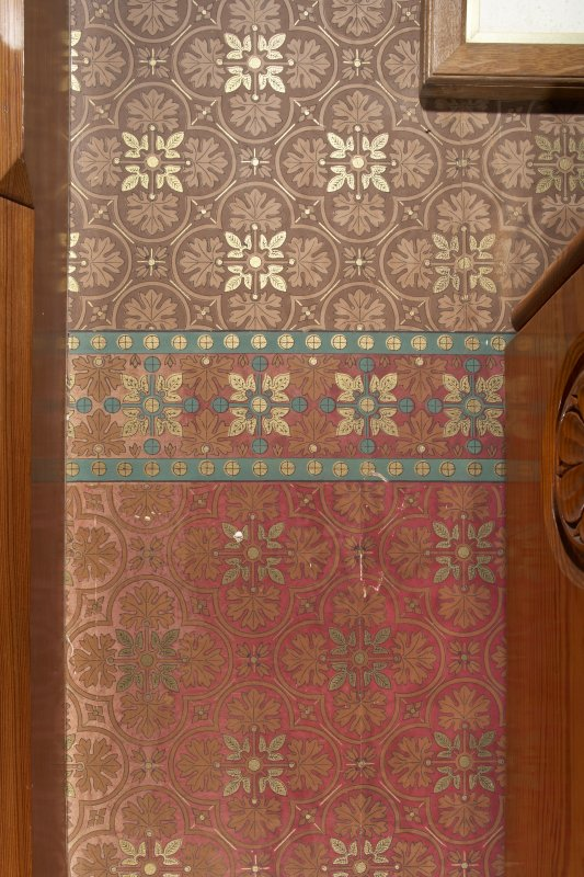 Interior. Ground floor, library, detail of wallcovering