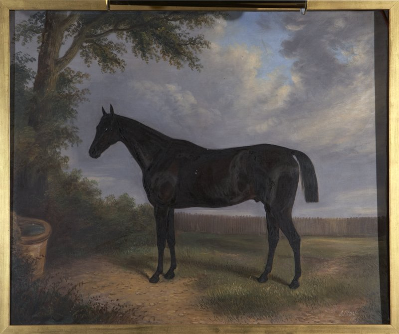 Interior. Ground floor, library, detail of horse painting
