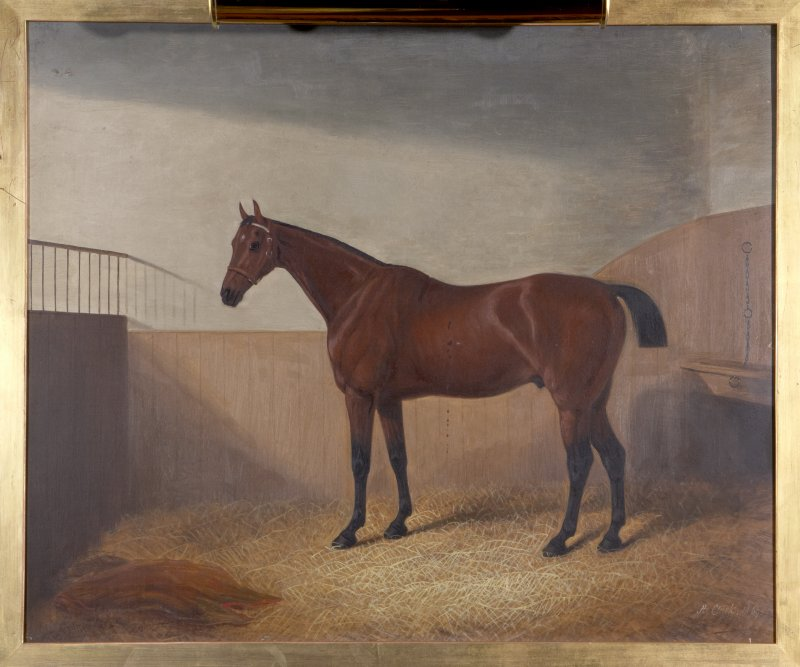 Interior. Ground floor, library, detail of horse painting painting