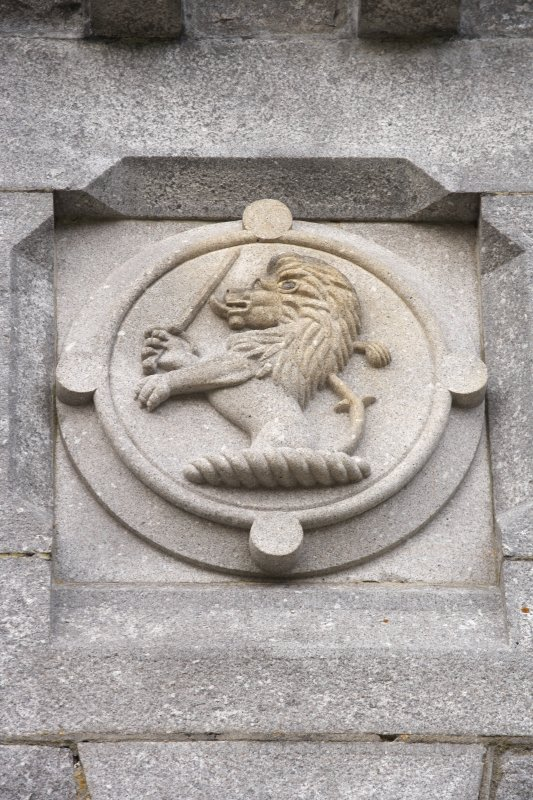 Main southeast entrance, detail of carved lion