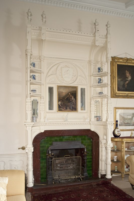 Interior. First floor, drawing room, view of fireplace and overmantle