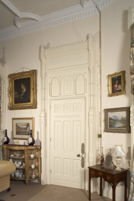 Interior.  First floor, drawing room, view of door and surround to boudoir