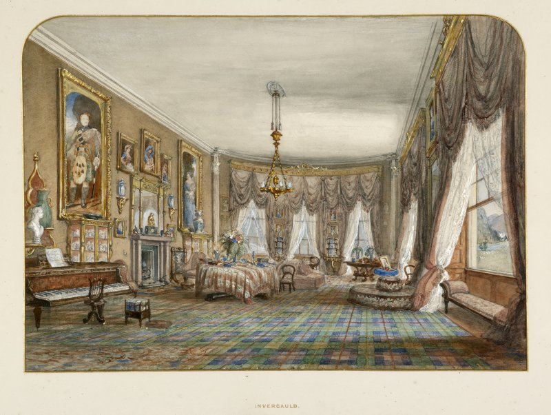 Interior. First floor, drawing room, detail of painting of drawing room in 19th century