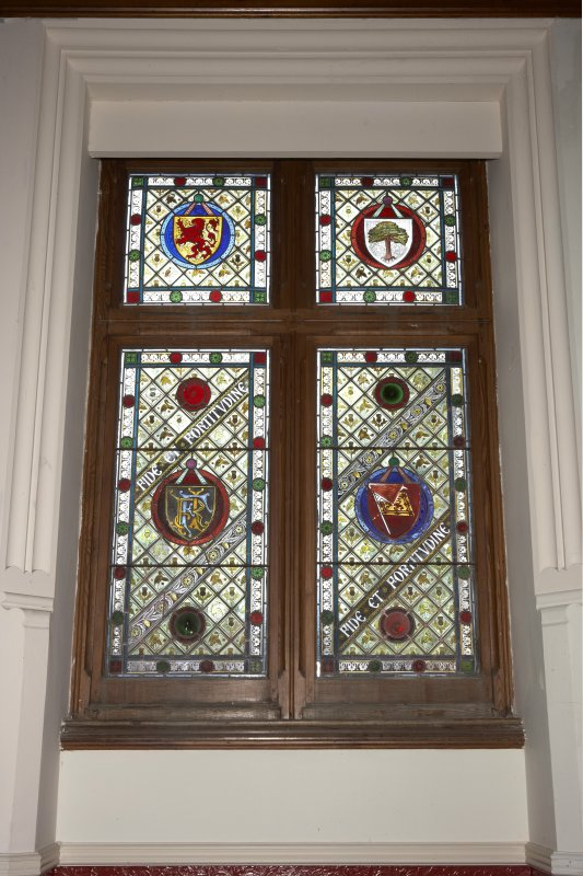 Interior.  First floor, upper hall, detail of stained window on west wall