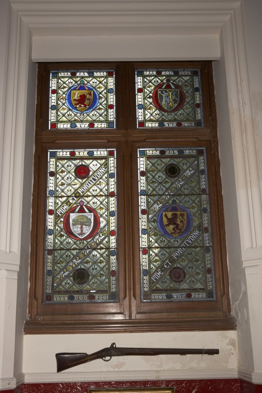 Interior.  First floor, upper hall, detail of stained window on east wall