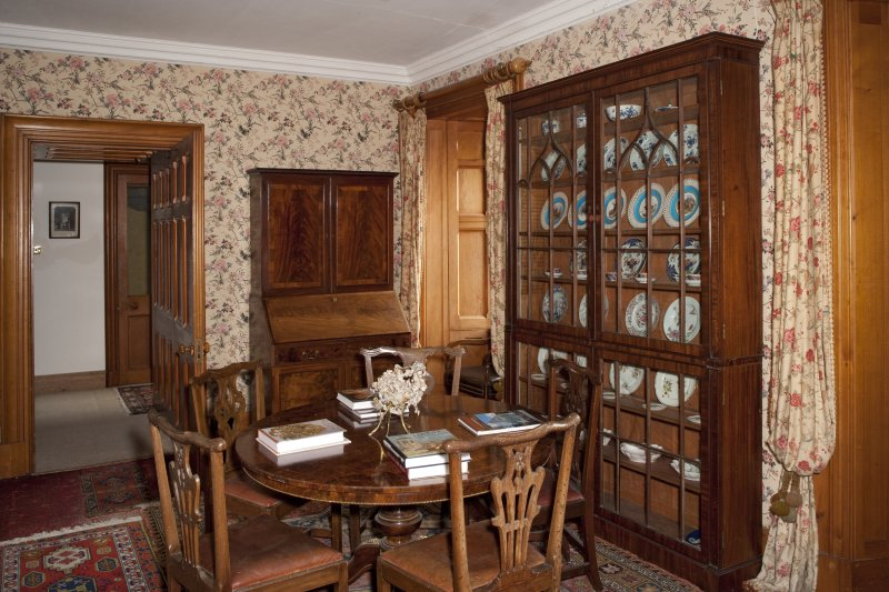 Interior.  First floor, museum, view from southwest including glazed china cabinet