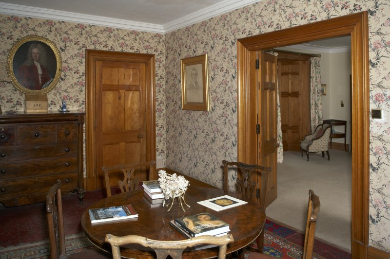 Interior.  First floor, museum, view from northeast through to chintz bedroom