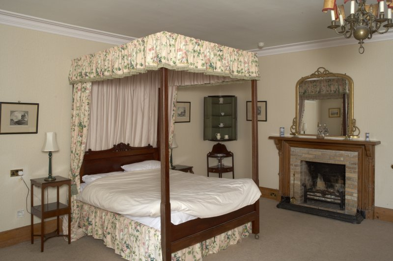 Interior.  First floor, chintz bedroom, view from southeast