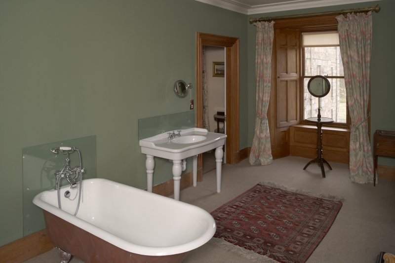 Interior.  First floor, bathroom off chintz bedroom, view from northwest