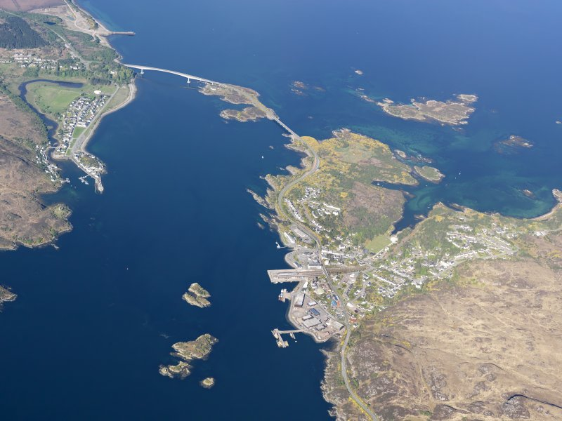 General oblique aerial view of the Skye Bridge and Kyle of Lochalsh, taken from the S.