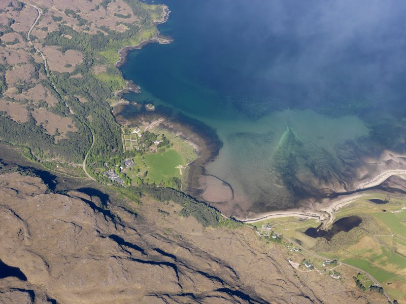 Oblique aerial view centred on the remains of the fish trap in Loch Torridon, taken from the E.