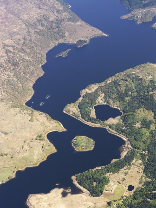 Oblique aerial view centred on Eilean Fhianain in Loch Shiel, taken from the WSW.