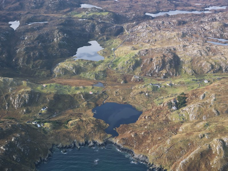 Oblique aerial view centred on Loch Dubh and Calbost township, taken from the E.